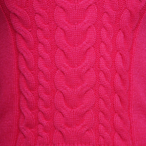 POLO NECK CABLE KNIT JUMPER - FUCHSIA PINK