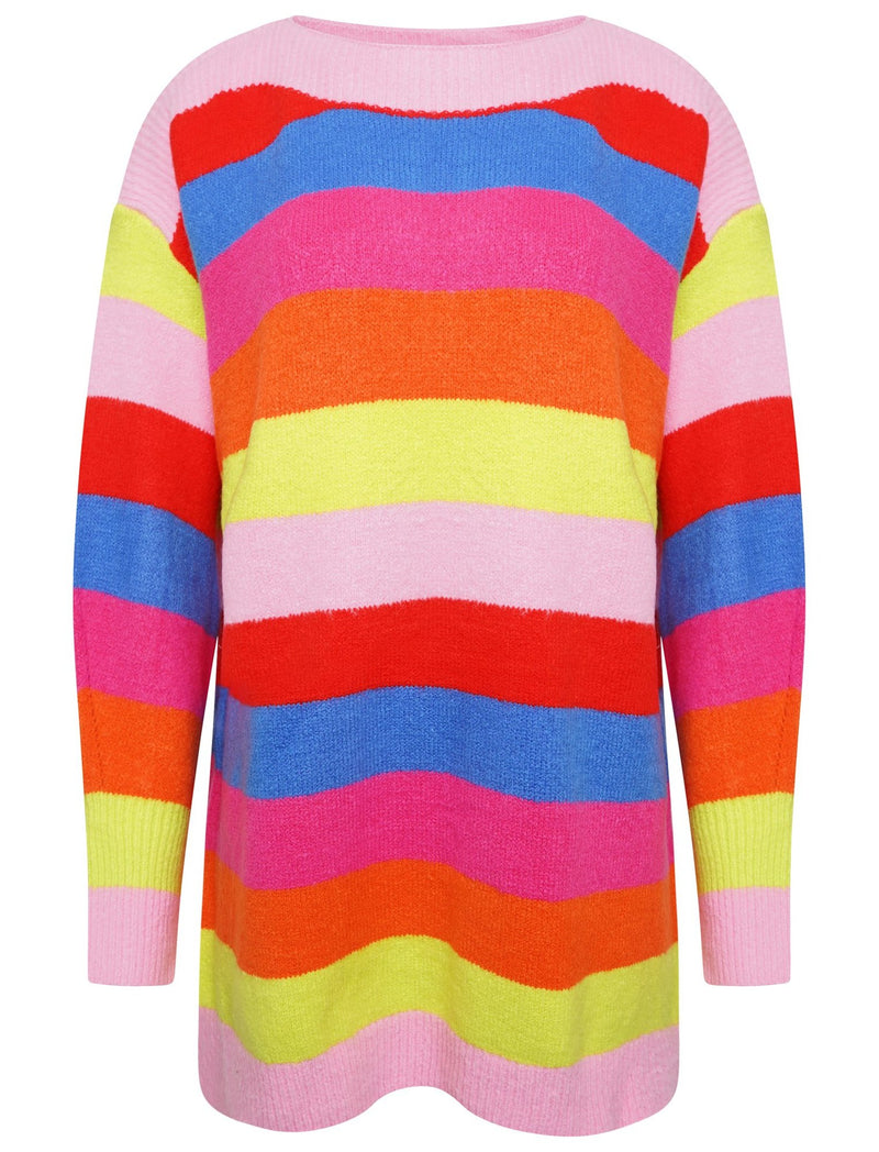 OVERSIZED STRIPED KNIT JUMPER - MULTICOLOURED