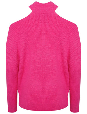 POLO NECK OVERSIZED CHUNKY KNIT JUMPER - FUCHSIA PINK