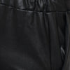 FAUX LEATHER PAPER BAG RELAXED FIT CROPPED TROUSER - BLACK