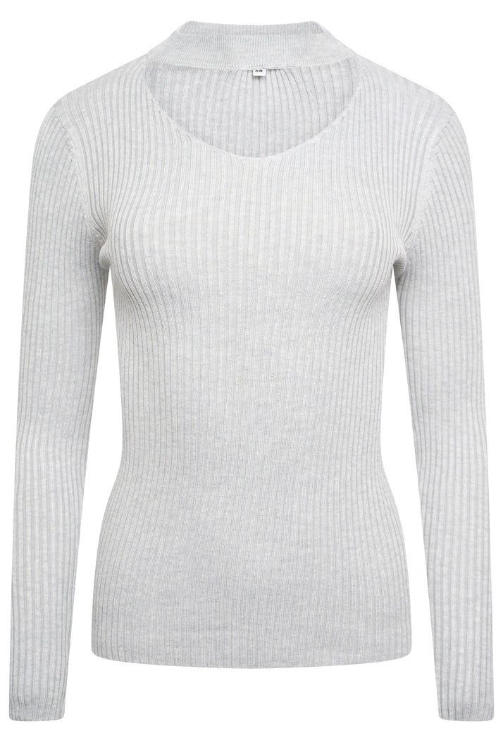 CHOKER NECK RIBBED KNIT TOP - GREY