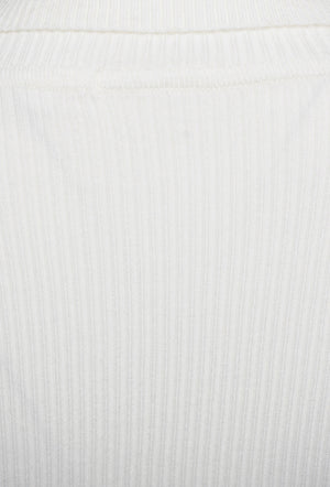 ROLL/POLO NECK RIBBED KNIT TOP - CREAM