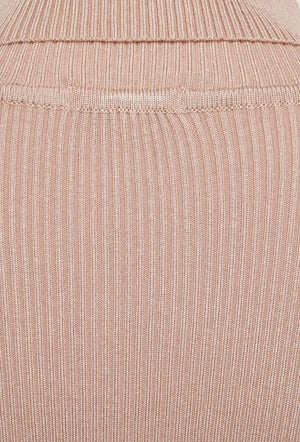 ROLL/POLO NECK RIBBED KNIT TOP - BEIGE