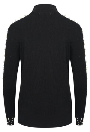 PEARL TURTLE NECK FITTED KNIT JUMPER - BLACK