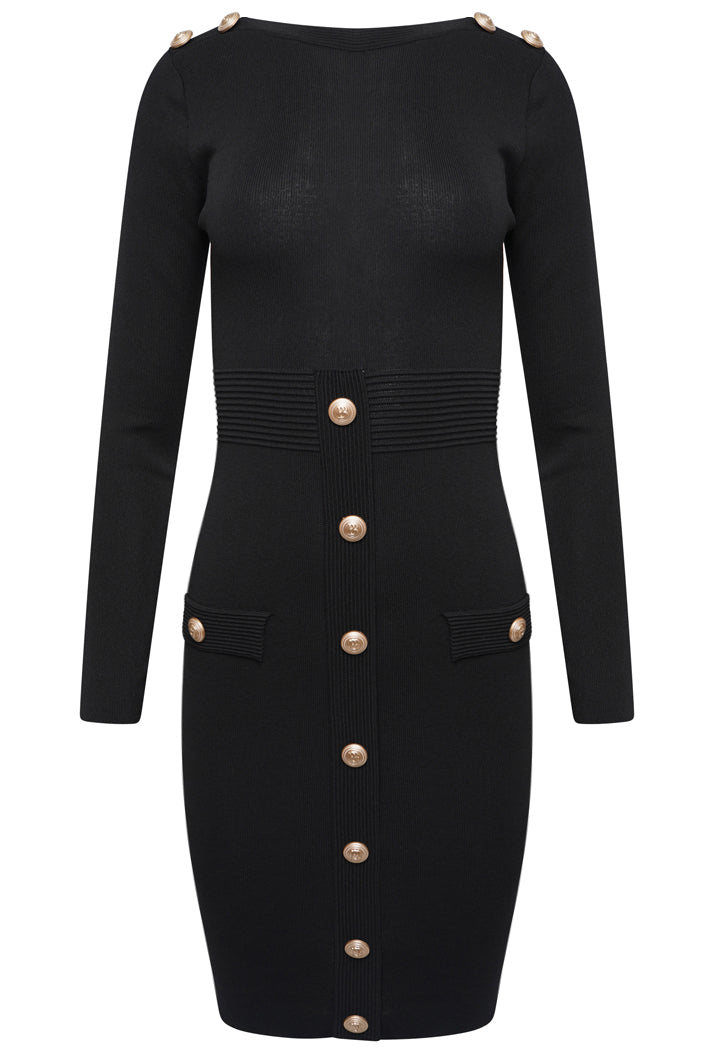 BUTTON DETAIL LONG SLEEVED BODYCON DRESS - BLACK