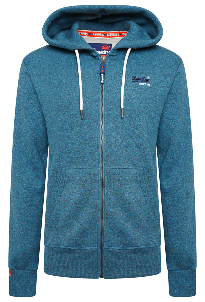 SUPERDRY ORANGE LABEL CLASSIC ZIP HOODIE - RICH TEAL GRIT