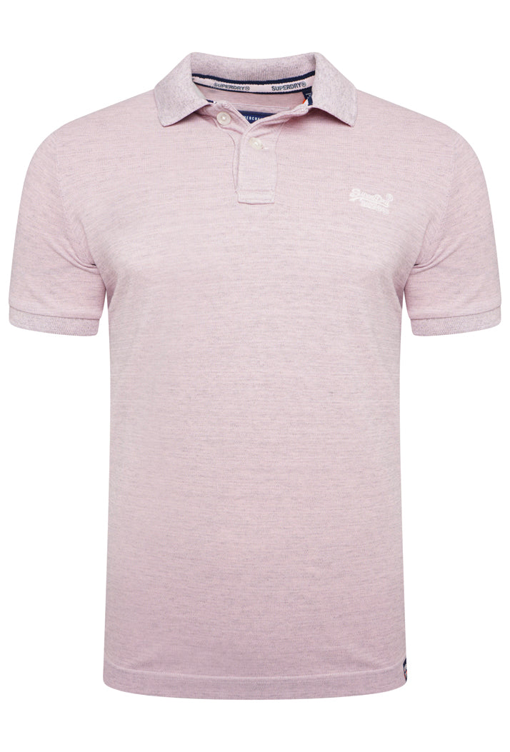SUPERDRY VINTAGE DESTROYED POLO SHIRT - POWDER PINK MARL