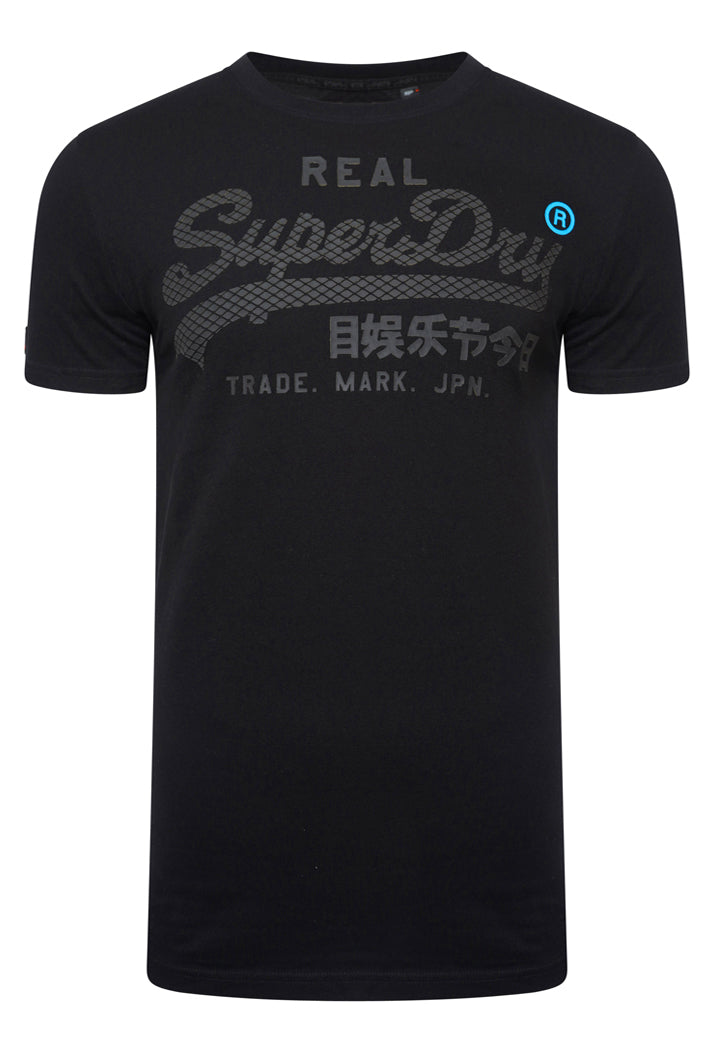 SUPERDRY VINTAGE LOGO MONOCHROME T-SHIRT - BLACK