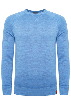 SUPERDRY GARMENT DYED L.A CREW JUMPER - WASHED AIR BLUE