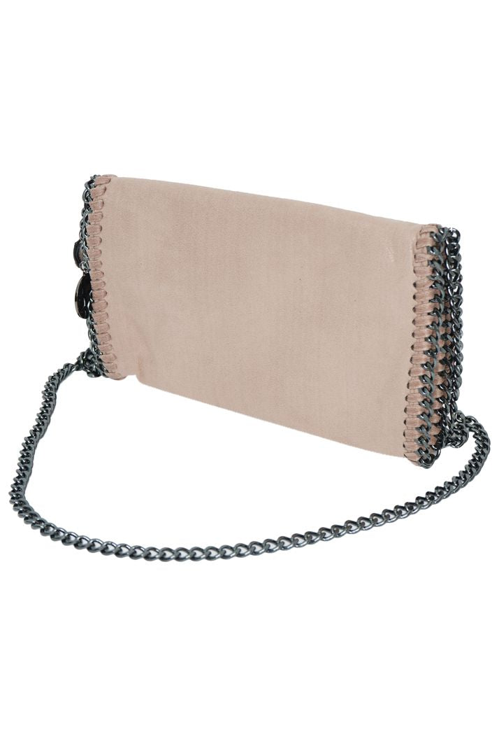 STELLA INSPIRED METALLIC FAUX SUEDE CROSS BODY MINI CLUTCH BAG - APRICOT