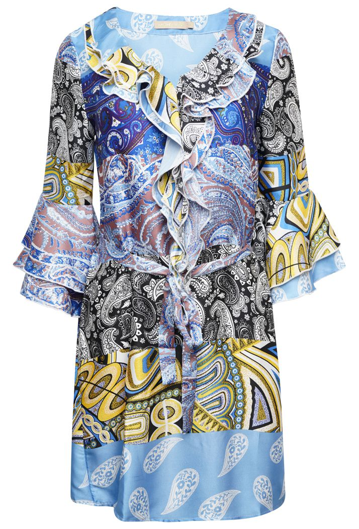 PAISLEY PRINT BELTED A-LINE MINI DRESS - BLUE