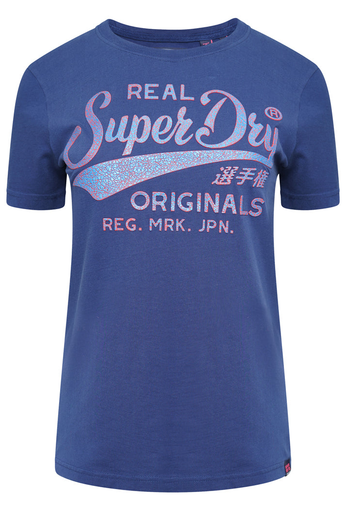 SUPERDRY REAL ORIGINALS HIGH BUILD CRACKLE T-SHIRT - SUPERMARINE NAVY