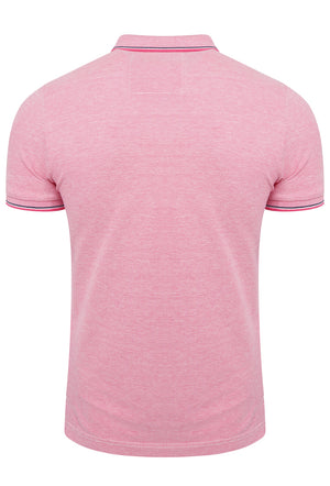 SUPERDRY CLASSIC POOLSIDE PIQUE POLO SHIRT - CORAL/WHITE