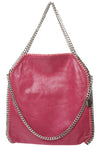 STELLA INSPIRED STYLE METALLIC FAUX SUEDE LARGE CHAIN BAG - RED