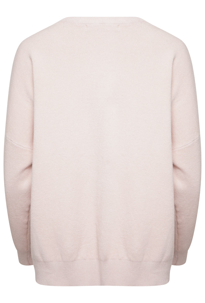 AMOUR OVERSIZED SLOGAN JUMPER - NUDE PINK