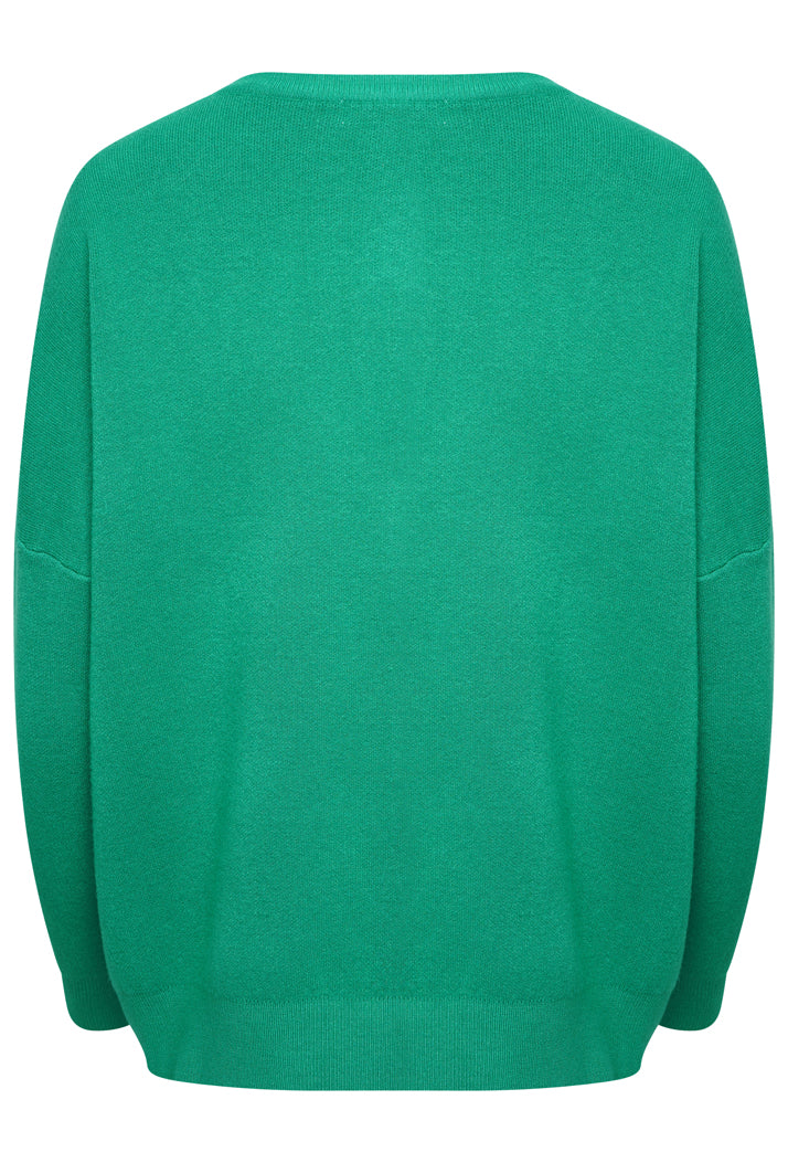 AMOUR OVERSIZED SLOGAN JUMPER - GREEN