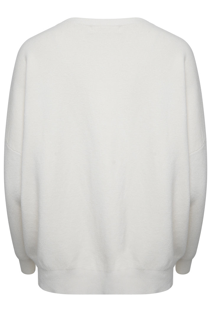 AMOUR OVERSIZED SLOGAN JUMPER - CREAM