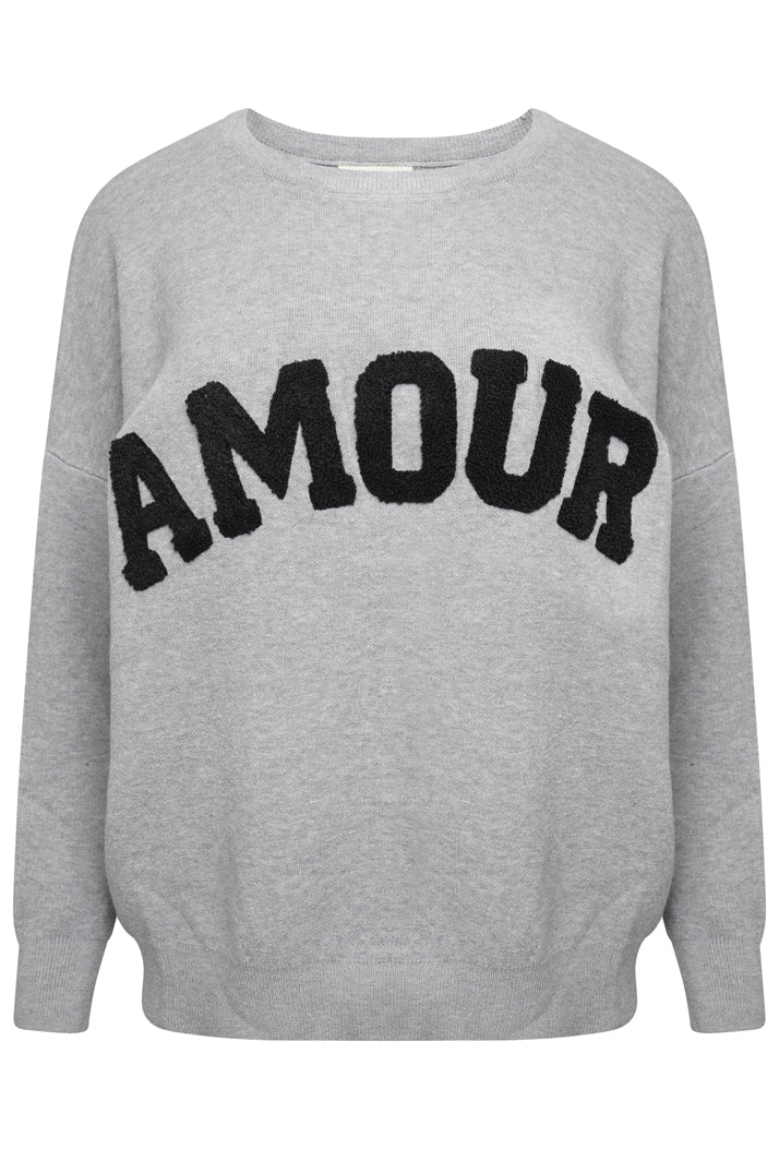 AMOUR OVERSIZED SLOGAN JUMPER - GREY