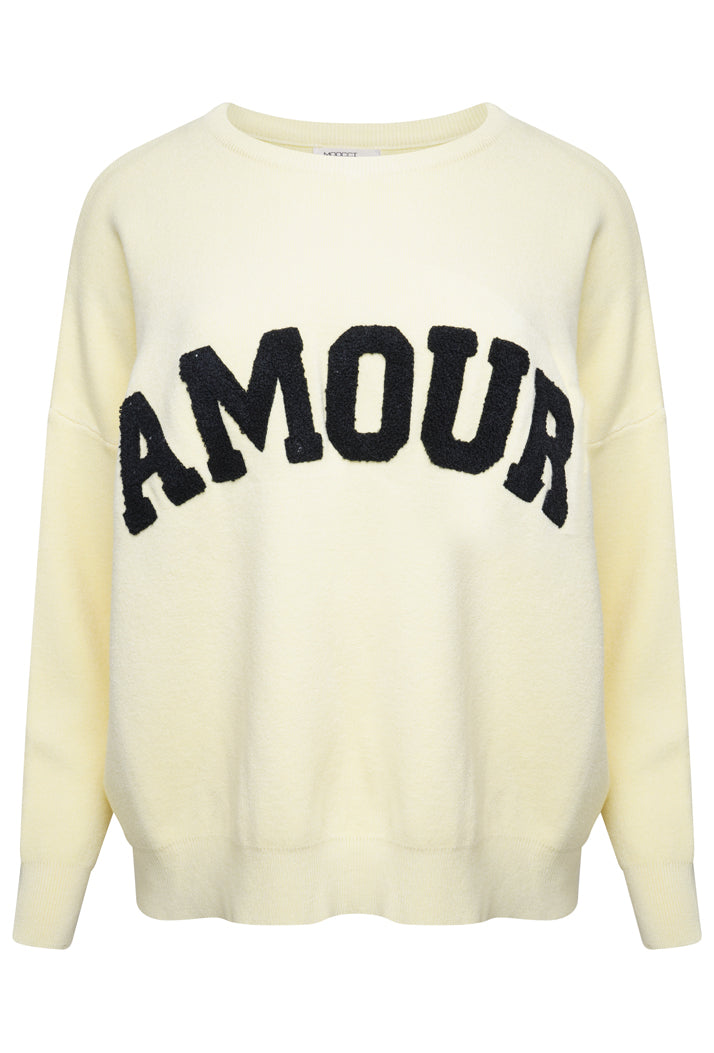 AMOUR OVERSIZED SLOGAN JUMPER - LEMON