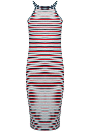 SUPERDRY TIANA GRAPHIC MIDI DRESS - ICE MARL/RED/NAVY STRIPE