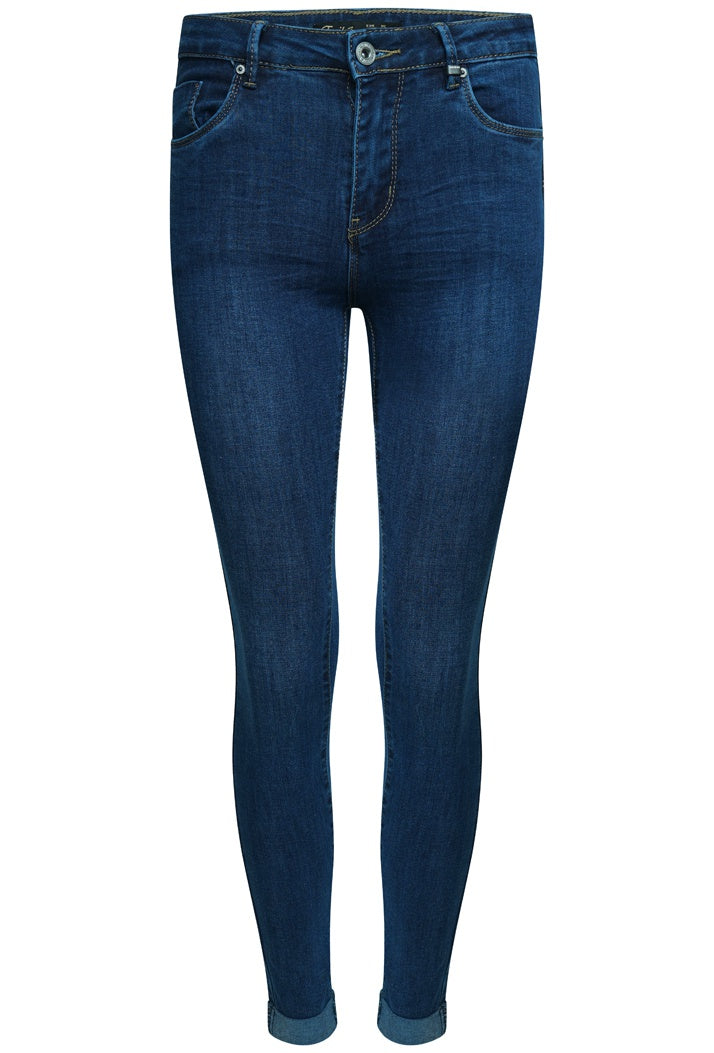 TOXIK3 H2408-1 PUSH-UP SKINNY JEANS WITH TURN UP - DARK BLUE