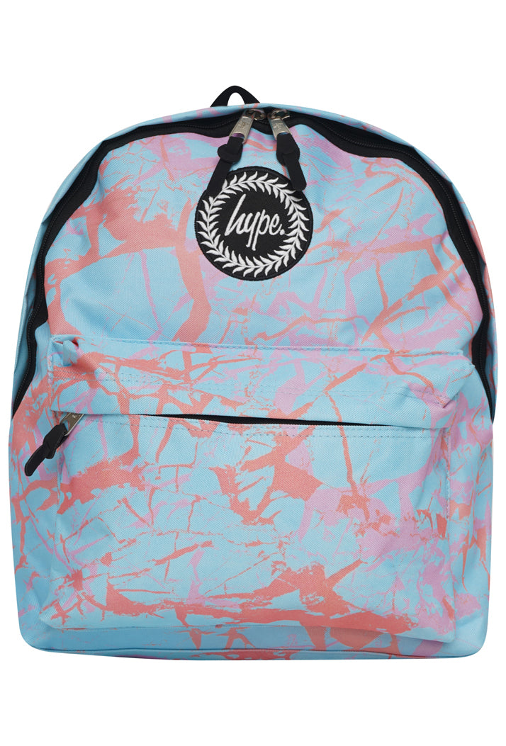 HYPE PASTEL MARBLE BACKPACK RUCKSACK BAG - BLUE
