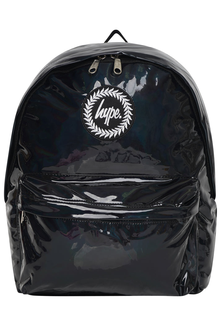 HYPE HOLOGRAPHIC BACKPACK RUCKSACK BAG - BLACK