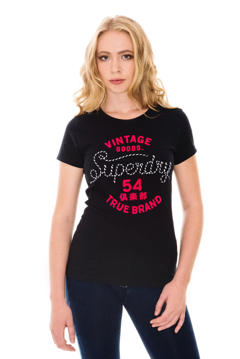 SUPERDRY ROPE APPLIQUE T-SHIRT - ECLIPSE NAVY