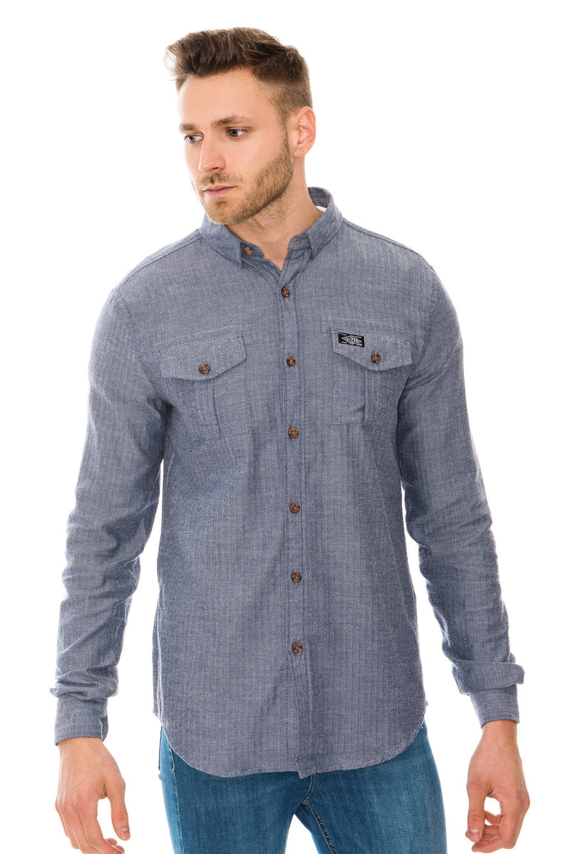 SUPERDRY FJORDMANS WORK SHIRT - FJORD BLUE HERRINGBONE