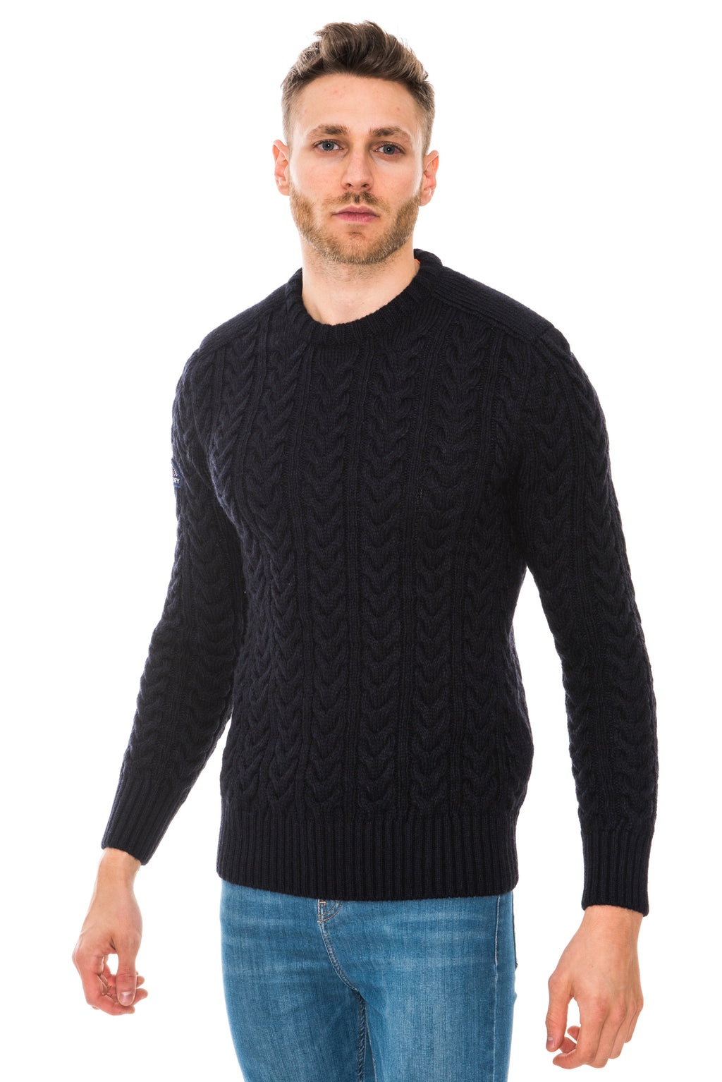 SUPERDRY JACOB CREW JUMPER - NAVY/BLACK TWIST