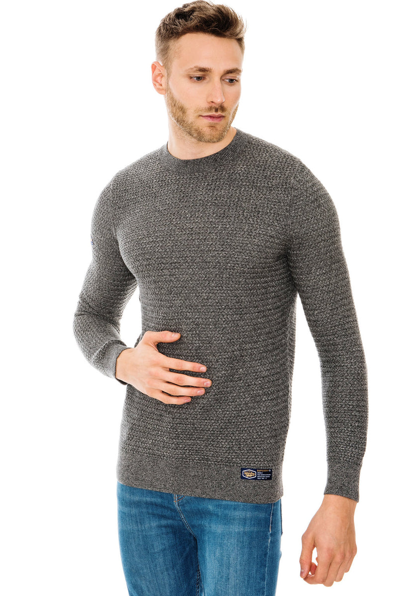 SUPERDRY ACADEMY TEXTURED CREW NECK JUMPER - DARK CHARCOAL