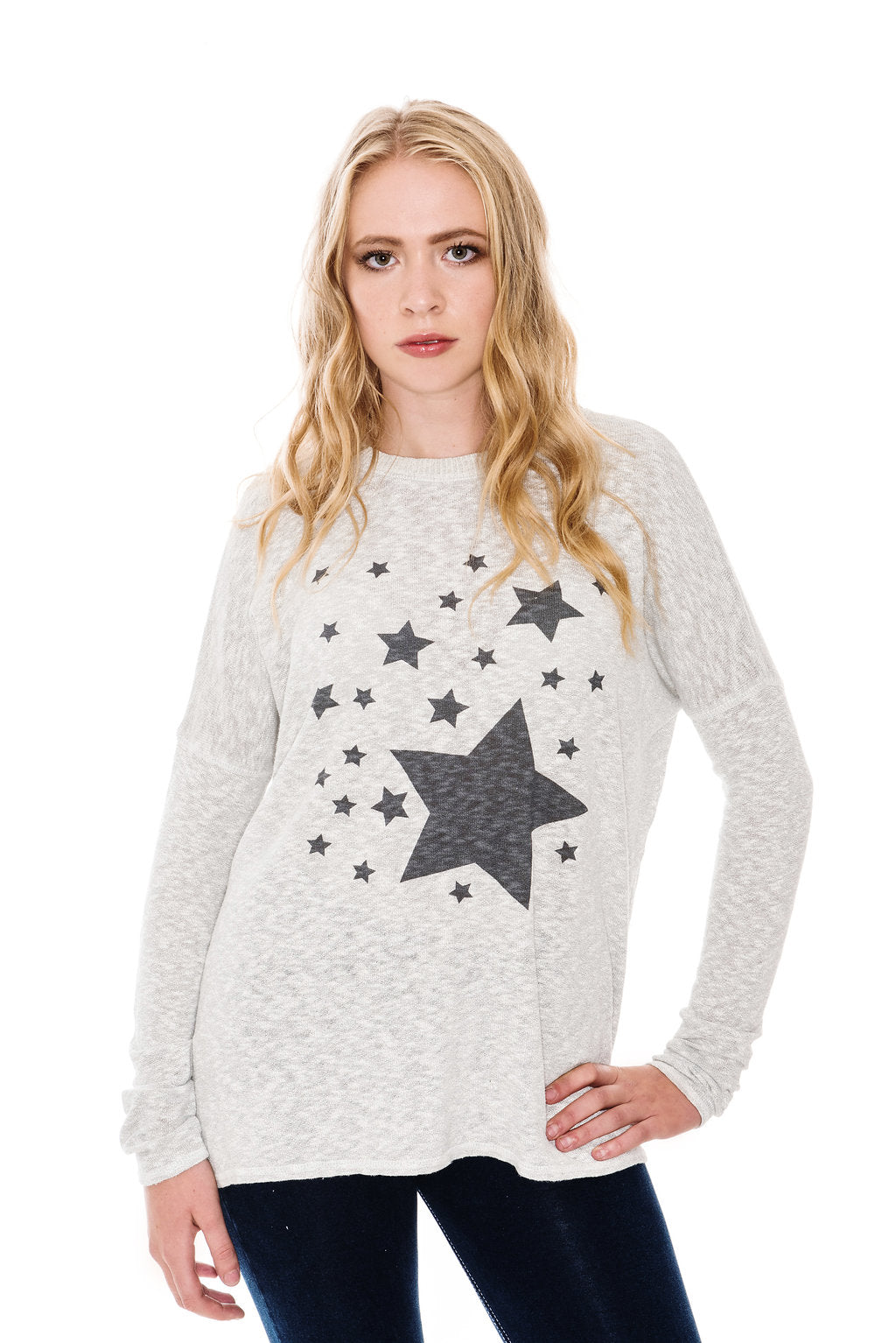 A POSTCARD FROM BRIGHTON STARRY SLUB KNIT TOP - COCONUT