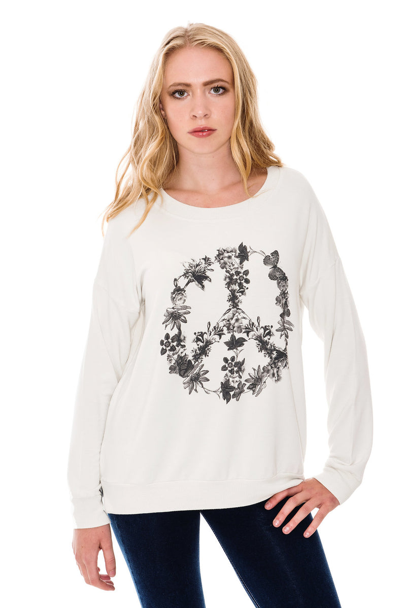 A POSTCARD FROM BRIGHTON PEACE FLOWER SWEAT TOP - COCONUT