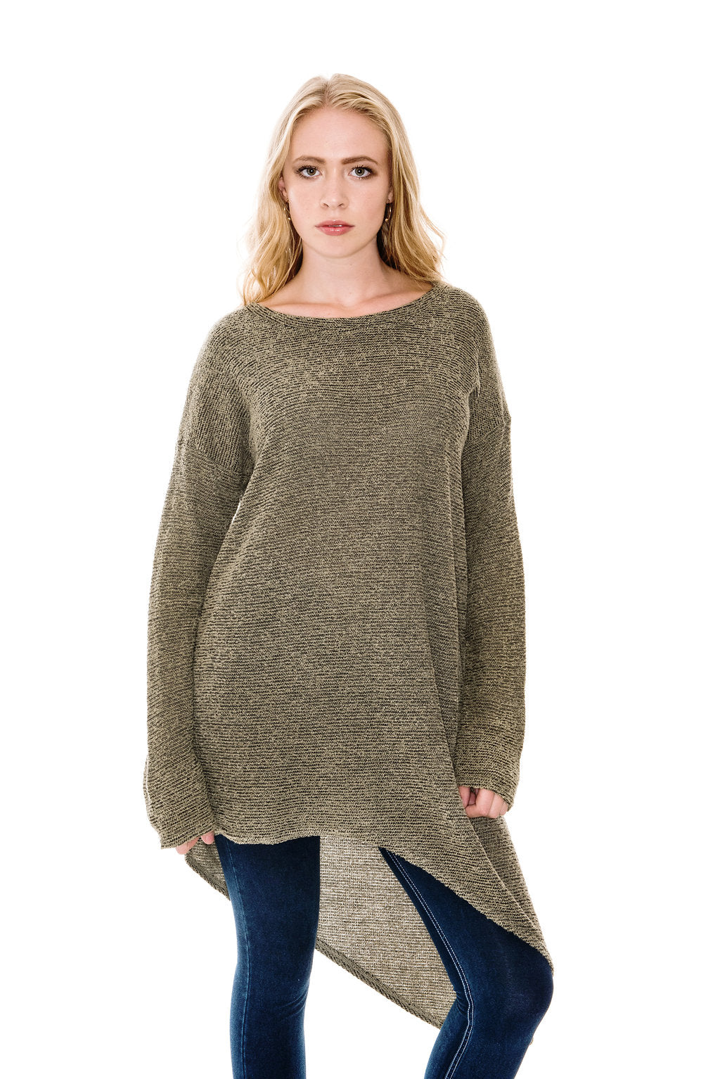 A POSTCARD FROM BRIGHTON KIZZY ASYMMETRIC KNIT TUNIC TOP - OLIVE