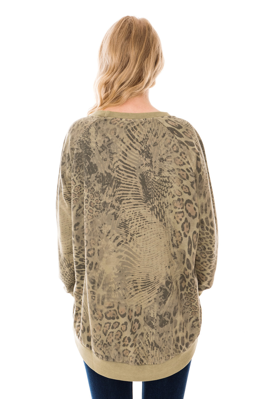 A POSTCARD FROM BRIGHTON PETRA ANIMAL PRINT ZIP SWEAT TOP - OLIVE