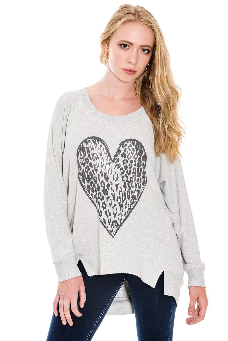 A POSTCARD FROM BRIGHTON LEOPARD FOIL HEART SWEAT TOP - COCONUT