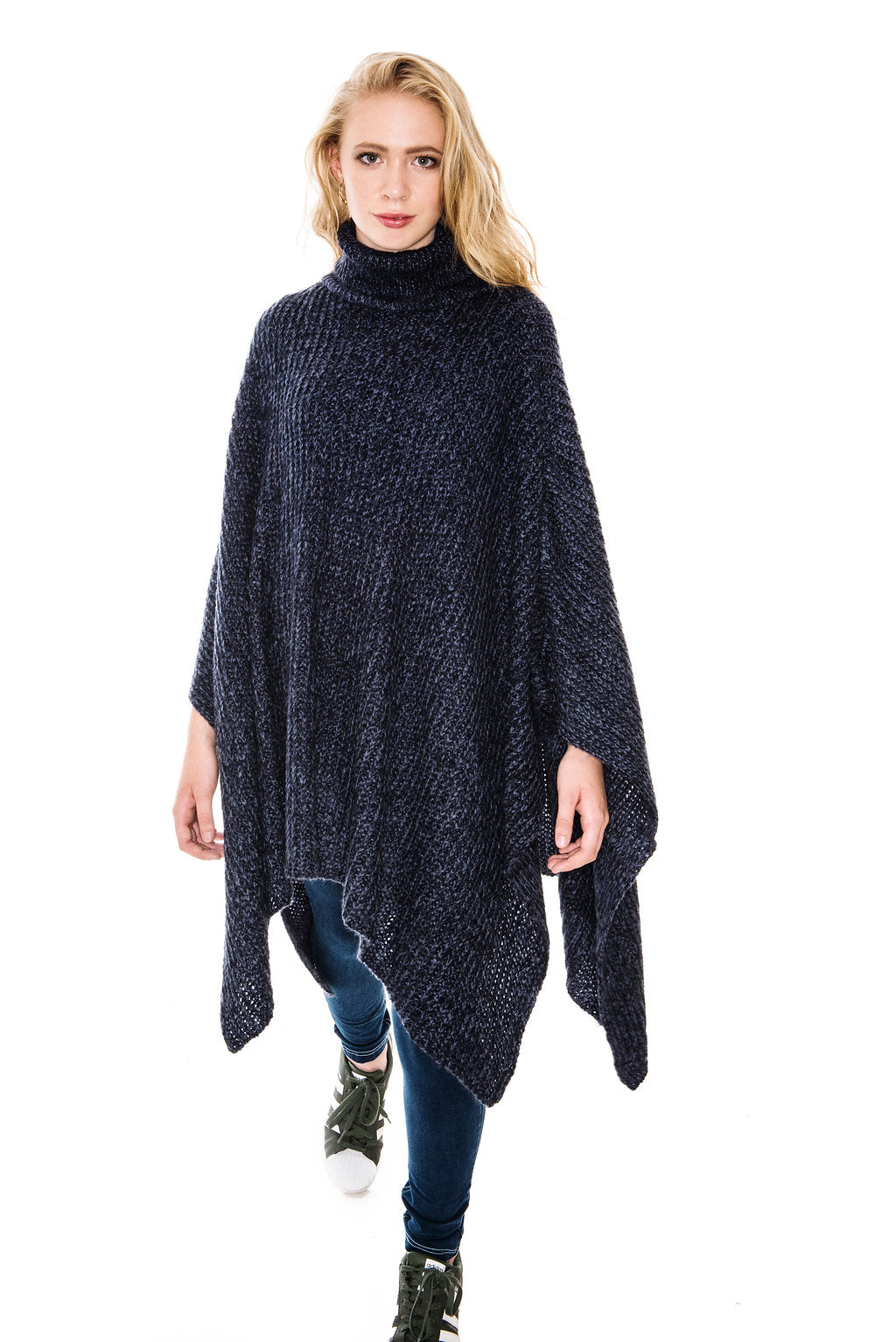 A POSTCARD FROM BRIGHTON BLANKIE ROLL NECK PONCHO - NAVY