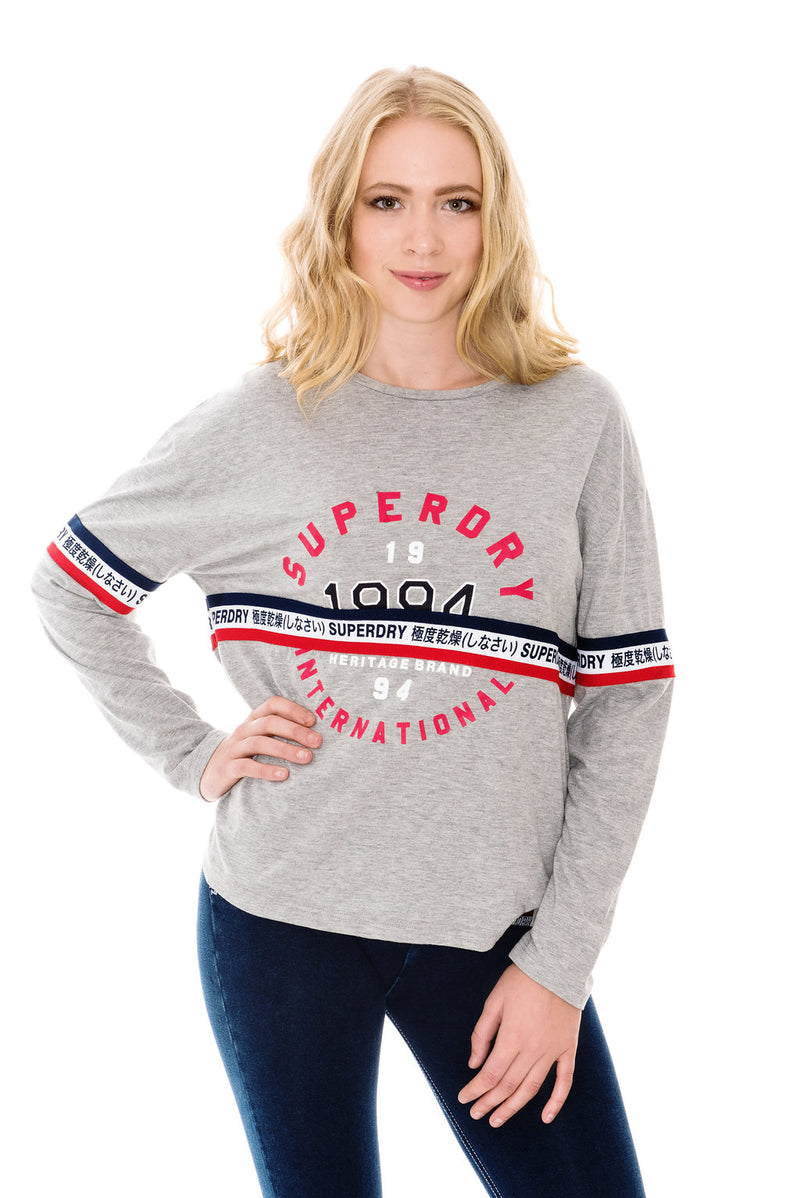 SUPERDRY TAPE GRAPHIC TOP - DAWN GREY MARL
