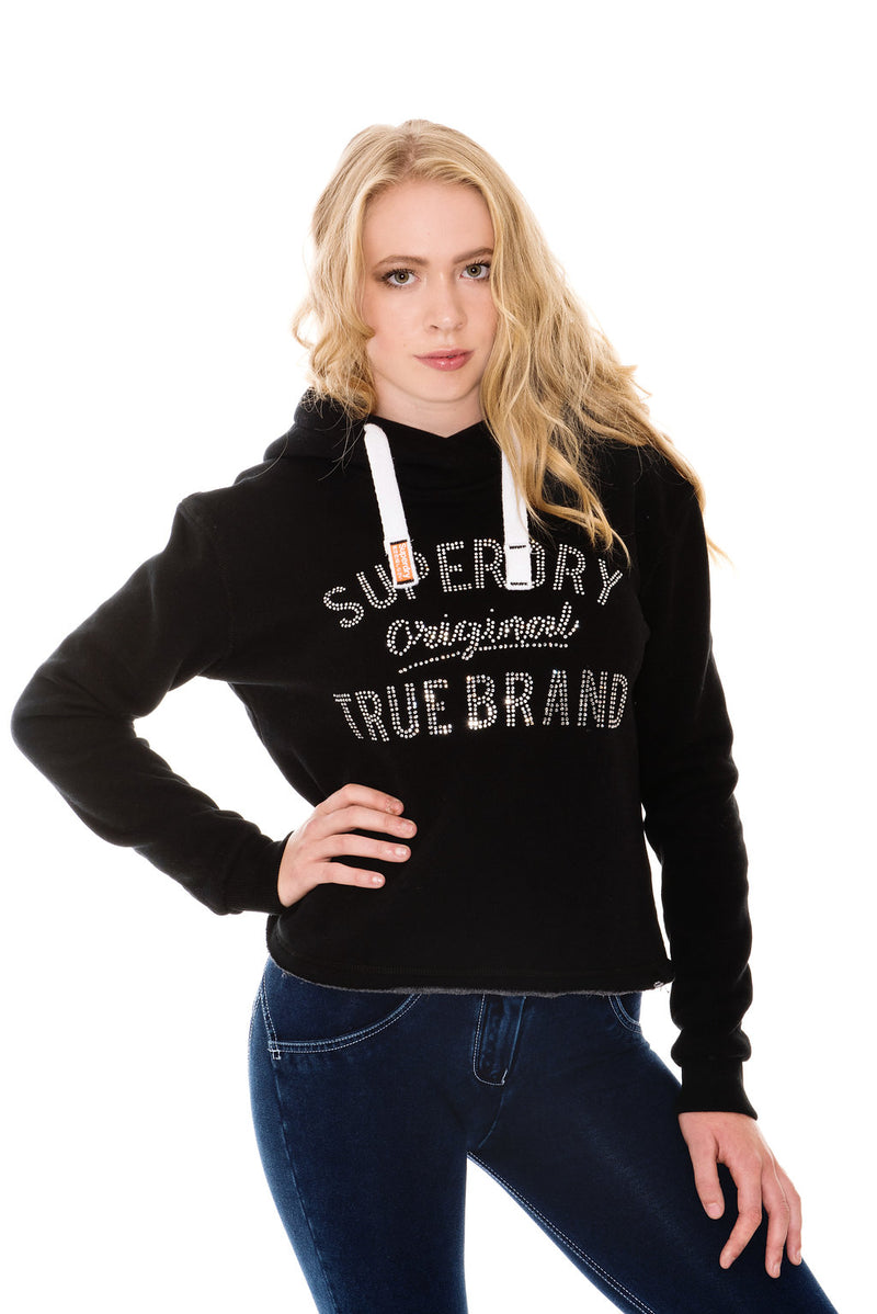 SUPERDRY TRUE BRAND RHINESTONE CROPPED HOODIE - BLACK