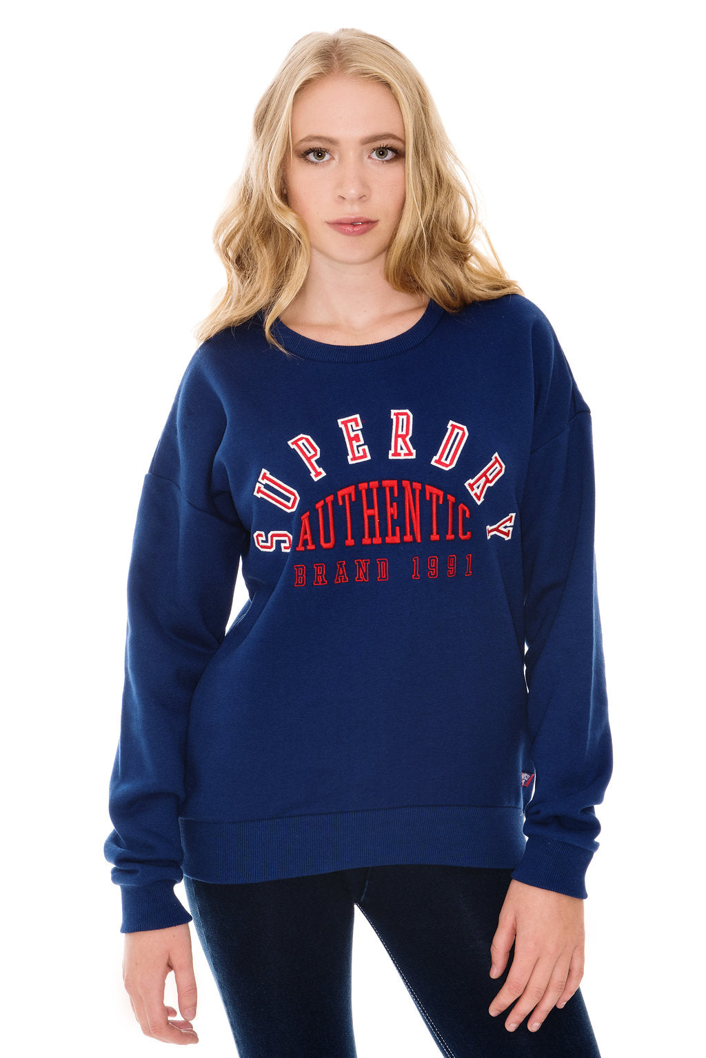 SUPERDRY URBAN STREET APPLIQUE SWEATSHIRT - SOFT NAVY