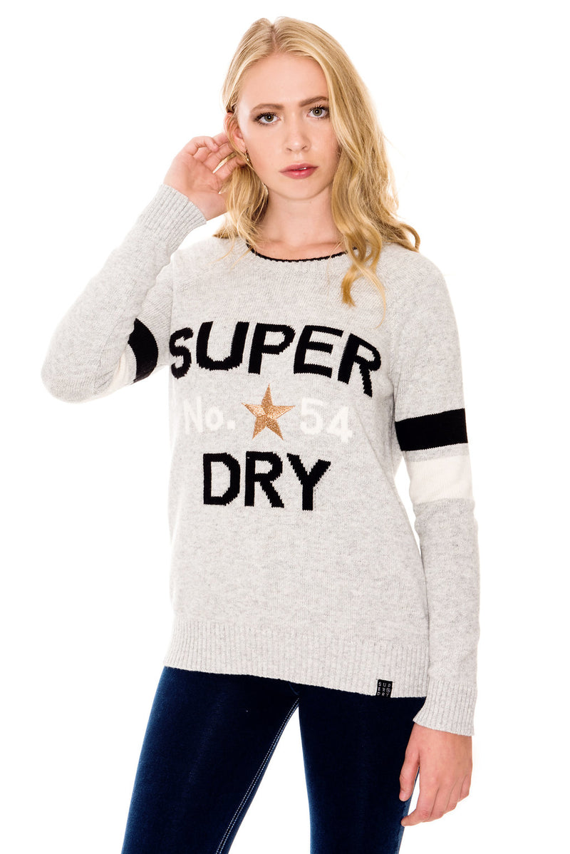 SUPERDRY VARSITY INTARSIA KNIT JUMPER - ICE GREY