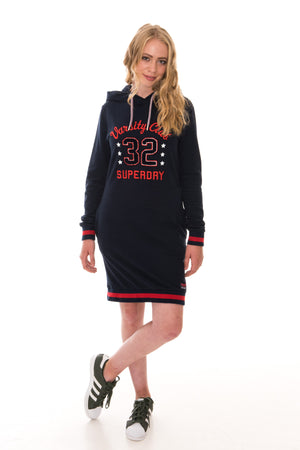 SUPERDRY TOKYO HOODED SWEAT DRESS - ECLIPSE NAVY