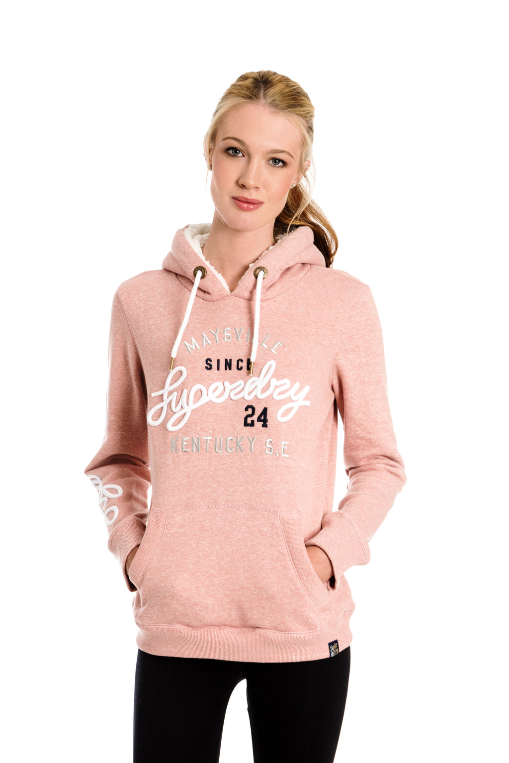 SUPERDRY ARIA APPLIQUE BORG HOODIE - DUSTY ROSE SNOWY