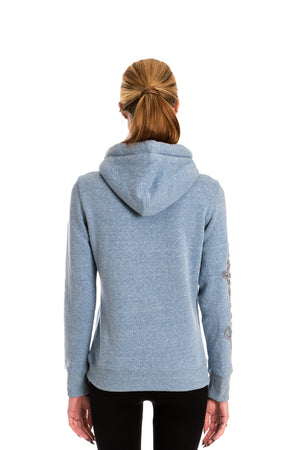SUPERDRY ARIA APPLIQUE BORG HOODIE - BURNT BLUE SNOWY