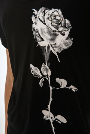 RELIGION ROSE T-SHIRT - JET BLACK