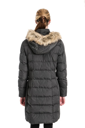 RINO & PELLE NURITA GULL GREY FAUX FUR HOODED COAT