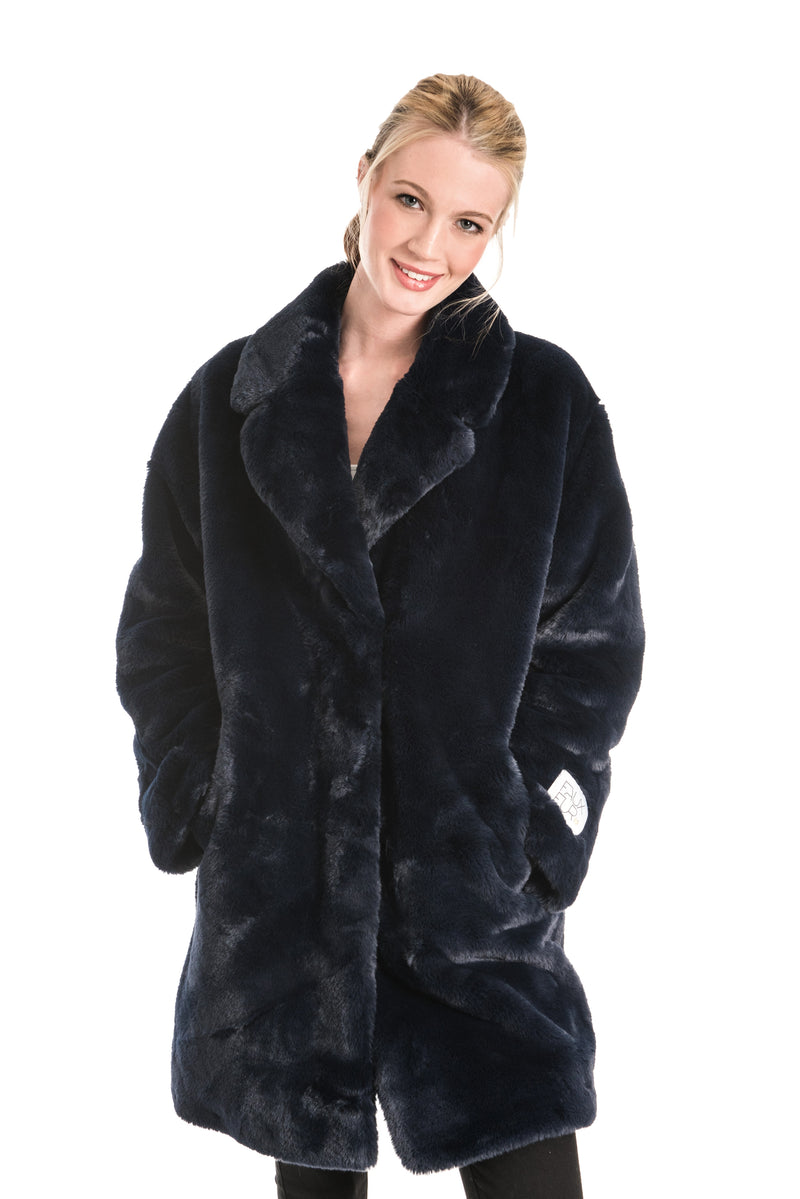 RINO & PELLE JOELA NAVY BLUE FAUX FUR COAT