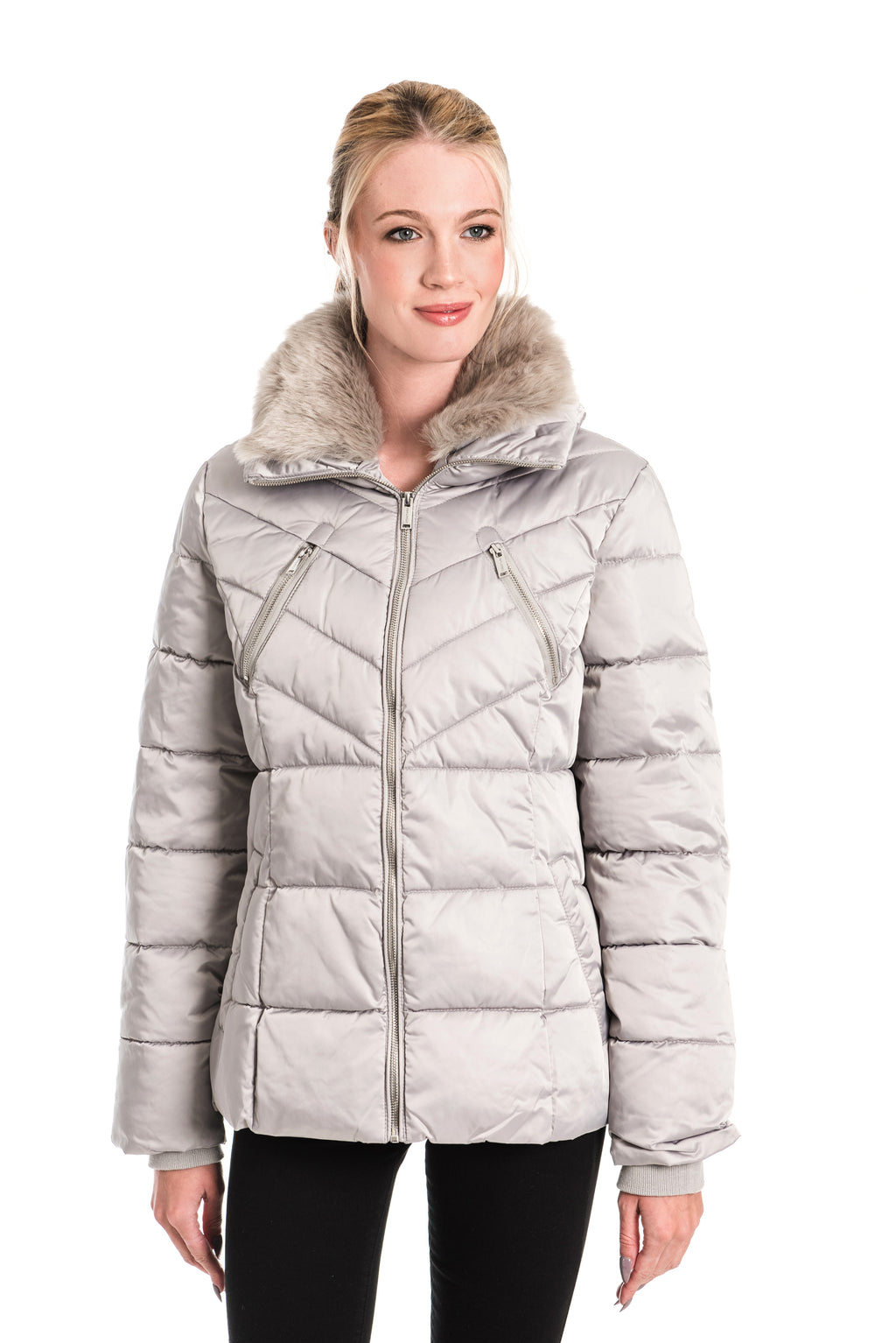 RINO & PELLE TEMMY MOONROCK FAUX FUR COLLAR QUILTED COAT