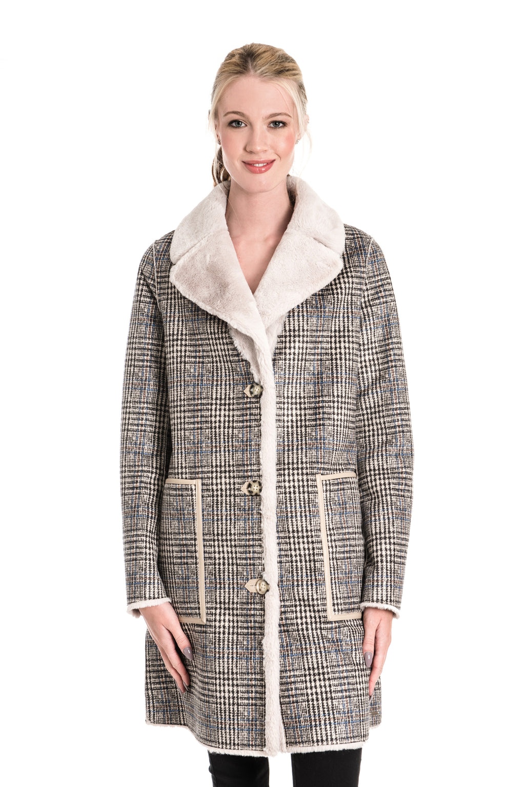 RINO & PELLE RIDA CHECKED REVERSIBLE FAUX SUEDE COAT