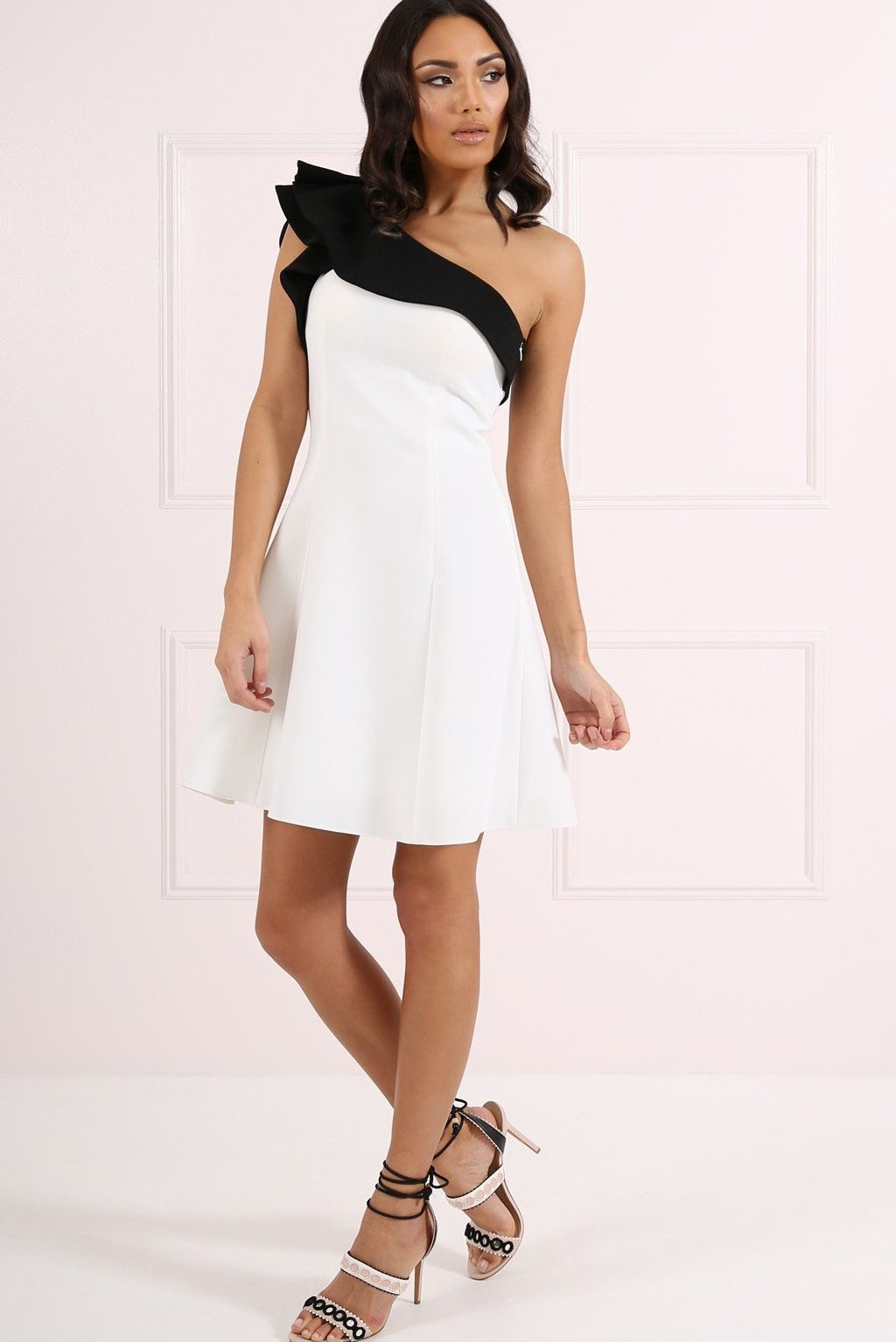 FOREVER UNIQUE HOLLIES A-LINE DRESS  - BLACK/WHITE